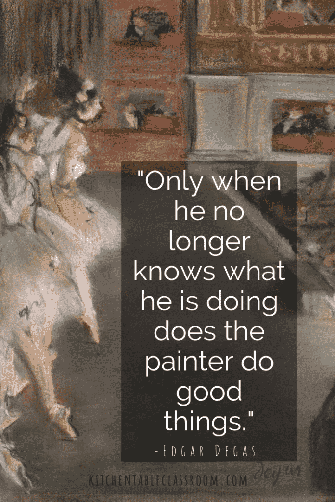 Everything you need is right here for an entire lesson Edgar Degas for kids lesson.  Use these free printables & book list for a zero prep art history lesson!