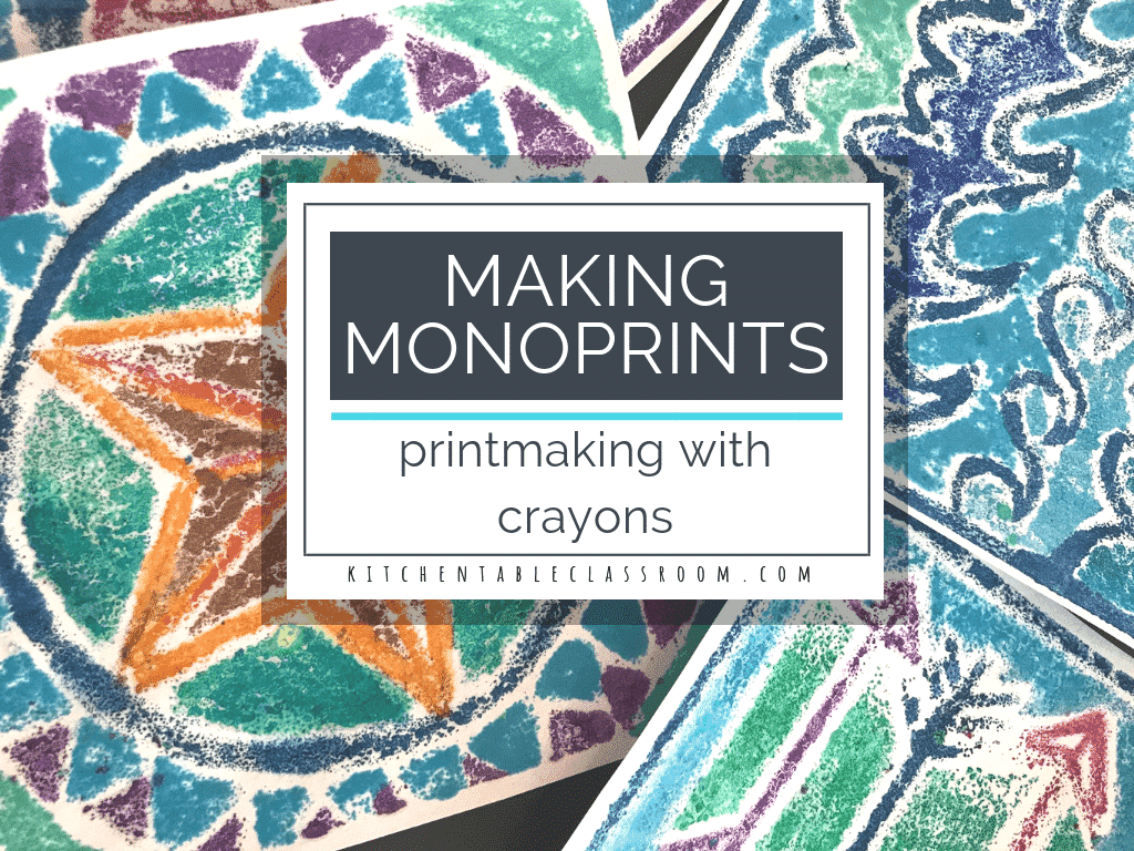 making a monoprint printmaking with crayons the kitchen table