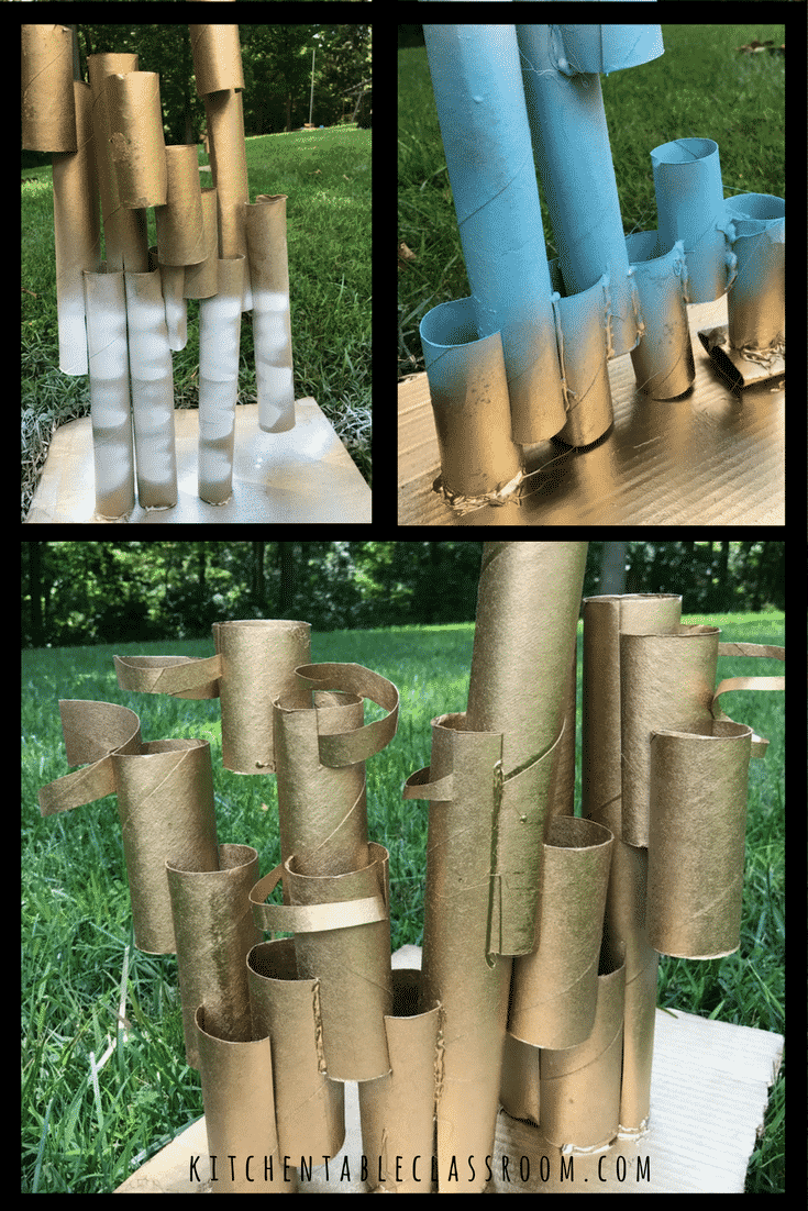 Free art experiences are hard to beat. Using toilet paper cardboard tubes to create a recycled sculpture is a fun and easy way to learn about building up.