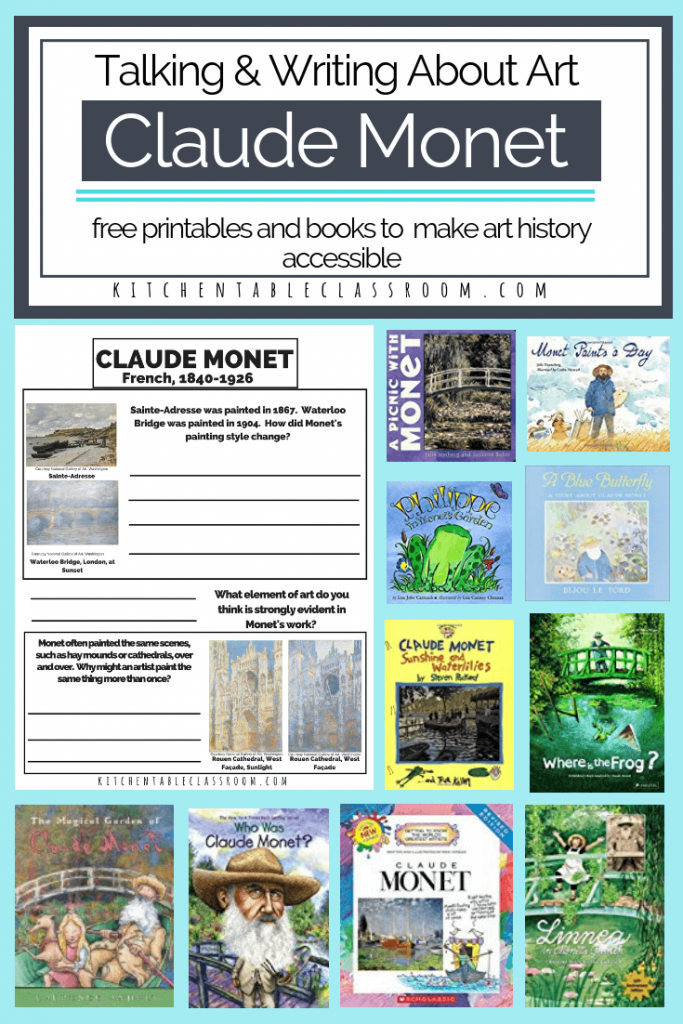 These printable resources and books are the perfect way to introduce Claude Monet for kids. This is a zero prep art history lesson for kids!