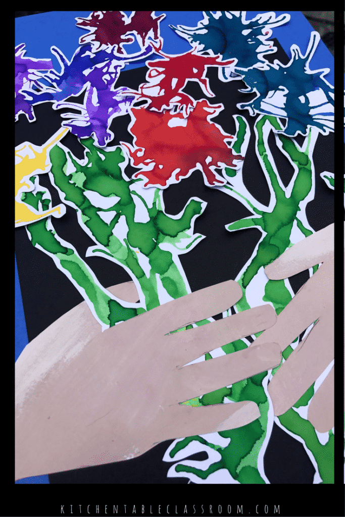 """Combine some fun straw blowing process art into a artwork loosely based on the """"Bouquet of Peace."""" Picasso for kids becomes easy, fun, and ever so pretty."""