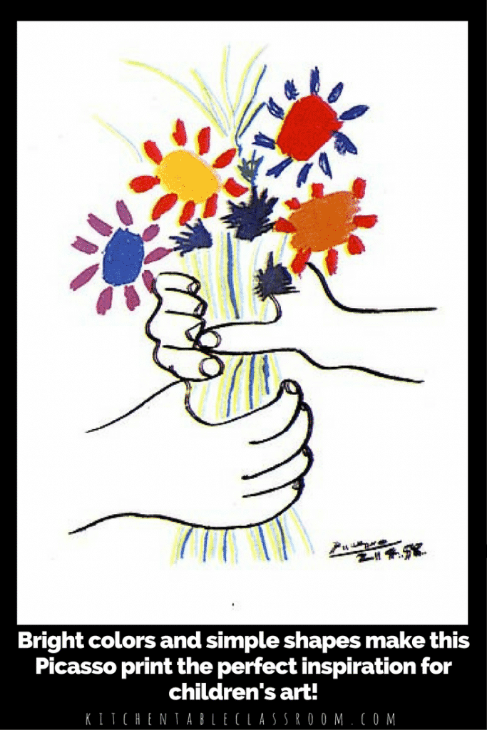"Combine some fun straw blowing process art into a artwork loosely based on the ""Bouquet of Peace.""  Picasso for kids becomes easy, fun, and ever so pretty."