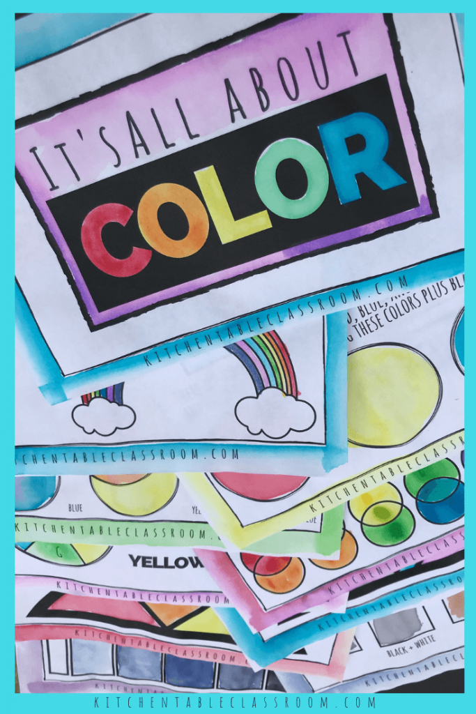 Use this printable color theory for kids book to teach the concepts of primary, secondary, tertiary, warm & cool colors, neutral colors, value, and more!