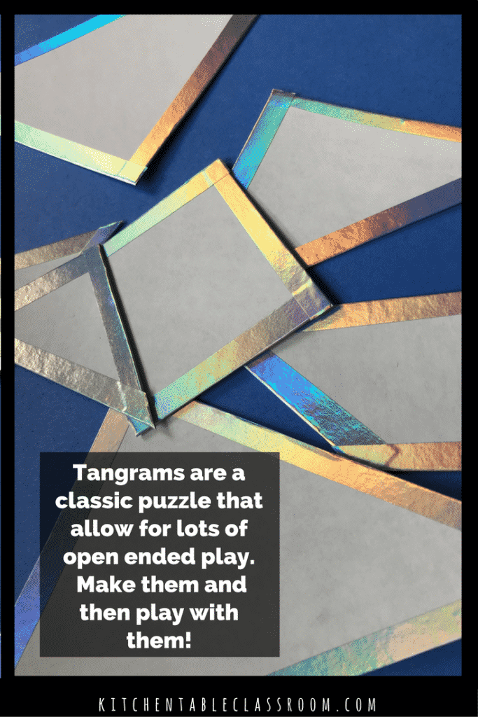 A tangram is a Chinese geometric puzzle.  DIY directions, an easy printable template, plus printable silhouette puzzles to solve are all included.
