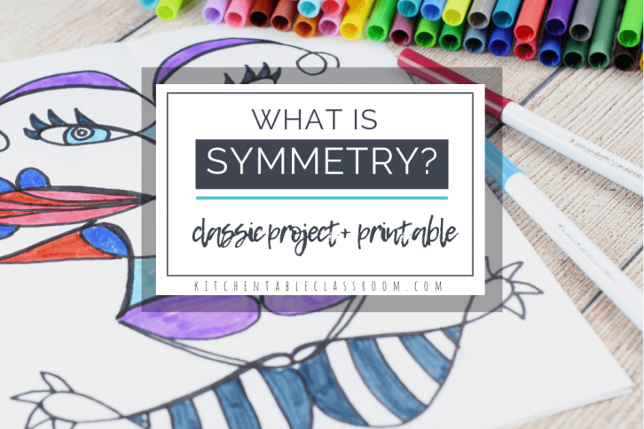 What is symmetry? Use this free printable to teach about the concept of symmetry in art.Then try the symmetrical name art project to drive the concept home!