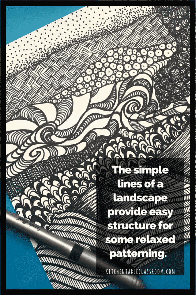 Here we combine Zentangle doodle designs with learning the basics of landscape for a can't miss pattern filled, rule breaking abstract landscape.