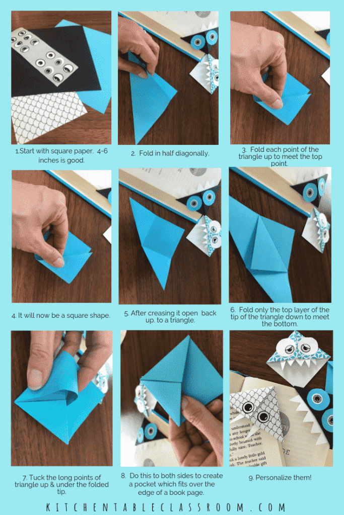 This little origami bookmark has just a few easy steps and offers lots of possibility. Grab a square of paper and get ready for some bookmark origrami now!