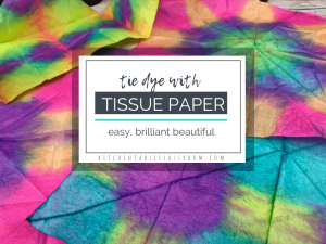 Try this super easy tie dye process perfect for kids. Create amazing tie dye designs using food coloring and tissue paper! All of the fun without the mess!