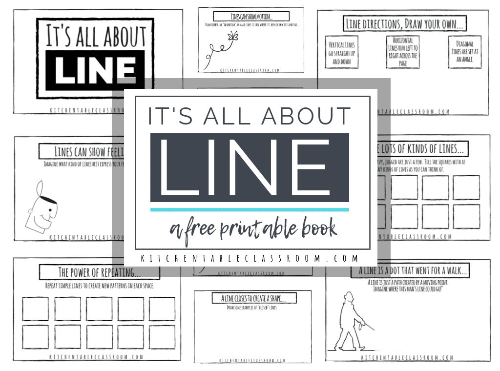 Use this free printable book to introduce your kiddos to the element of line. Discuss types of lines, how lines can show emotion, & how artists use line!