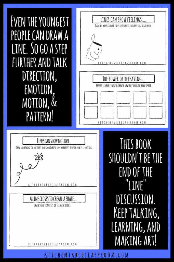 The element of line is one of the elements of art, the building blocks of everything art-y.Can you draw a line? Good, then you're ready for this free book!
