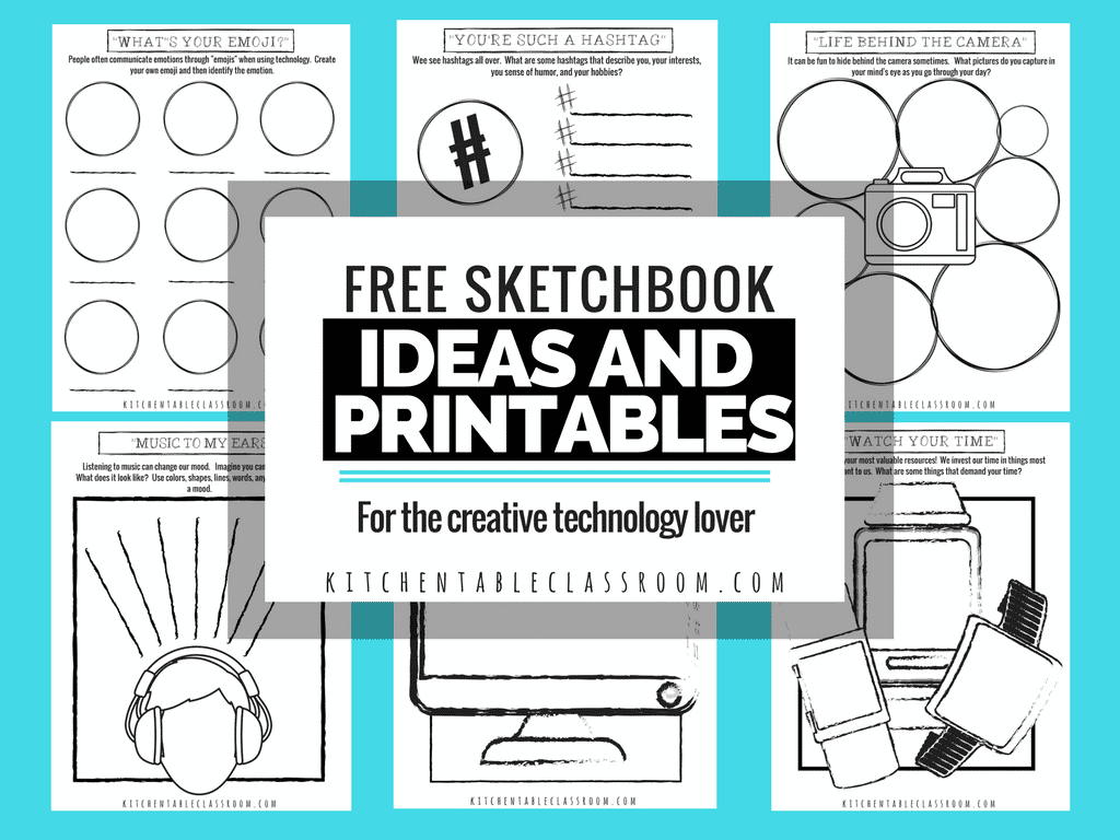 Sketchbook Ideas and Printables for the Technology LoverI hope you can use these sketchbook starters and drawing prompts for the technology lover in your home or classroom!