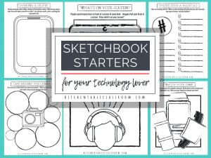 These free printable sketchbook ideas and printable drawing prompts are perfect for your technology loving kid or teen. Print and go!