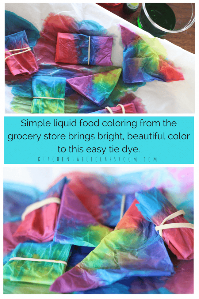 Tie is always a huge hit at our house but the mess...not so much.   Try this tissue paper dye using liquid food coloring.  Beautiful colors and awesome patterns make this the perfect one day art lesson!