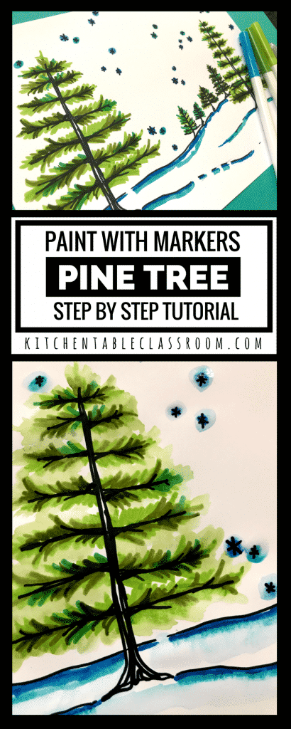 This pine tree tutorial includes a few simple directed drawing steps along plus color using the super simple (and not messy) paint with markers technique.