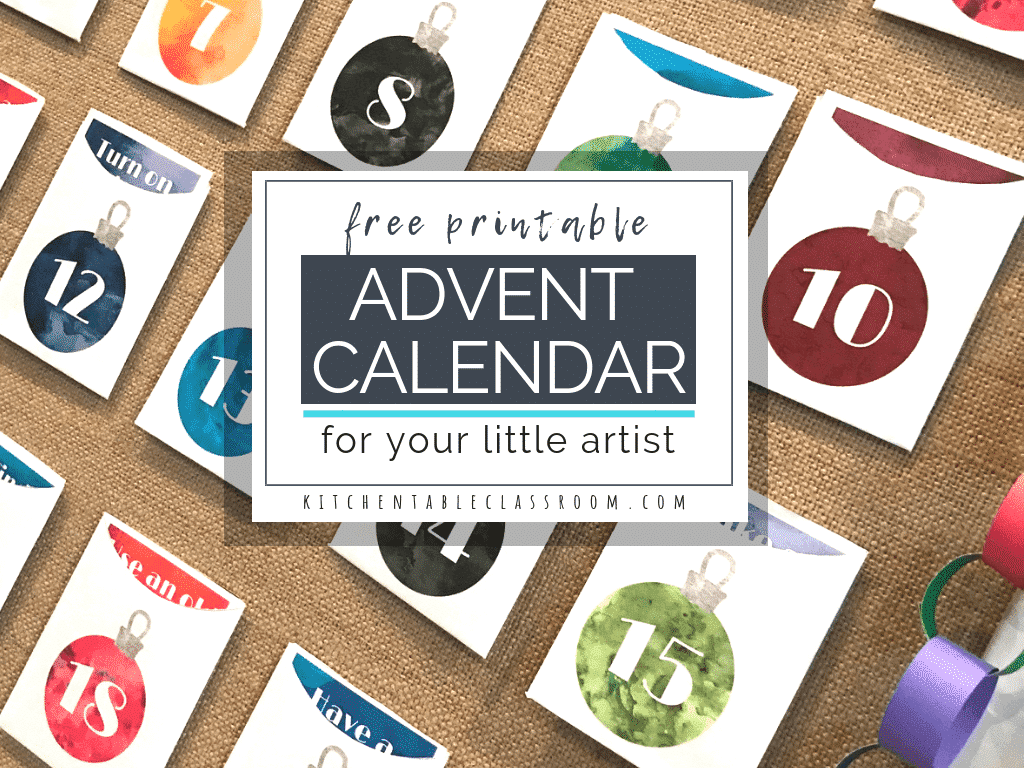 image relating to Free Printable Advent Calendar titled A Do-it-yourself Arrival Calendar for Your Very little Artist - The Kitchen area