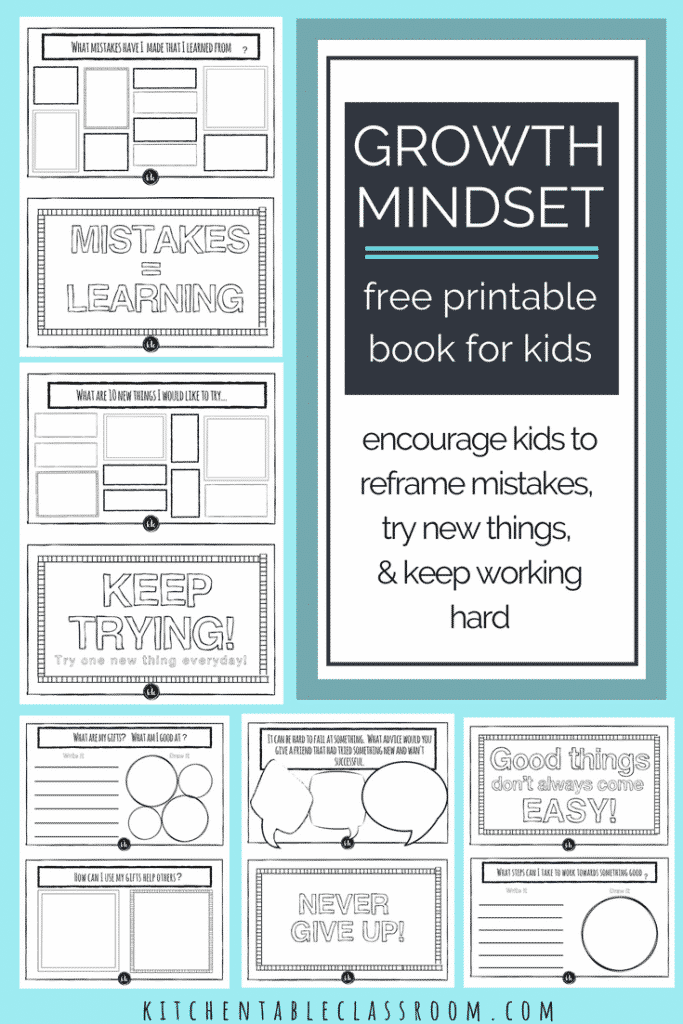 Use this free growth mindset for kids printable book to encourage your kiddos to keep trying new things. It's full of easy to try growth mindset activities!