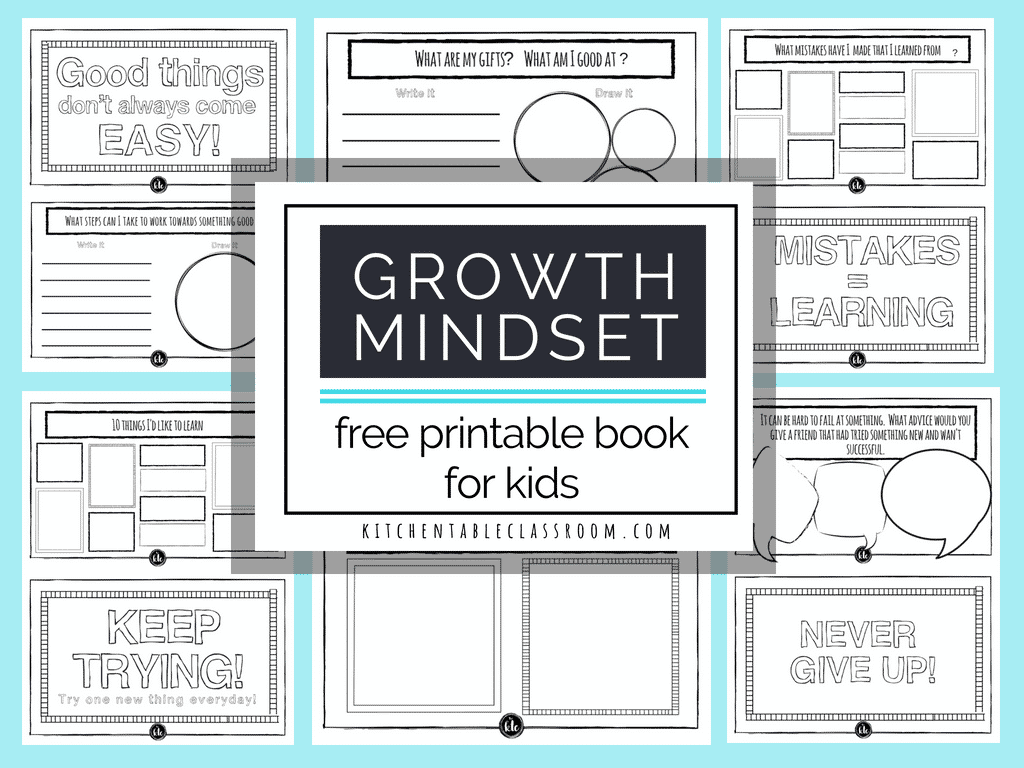 Growth Mindset For Kids Printable Book Growth Mindset Activities