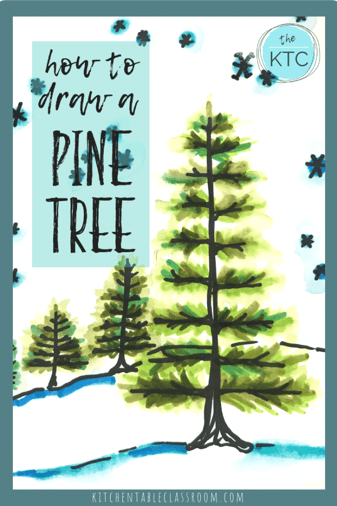 This how to draw a pine tree tutorial takes you step by step how to draw a tree and the finish it up with my paint with washable marker technique.