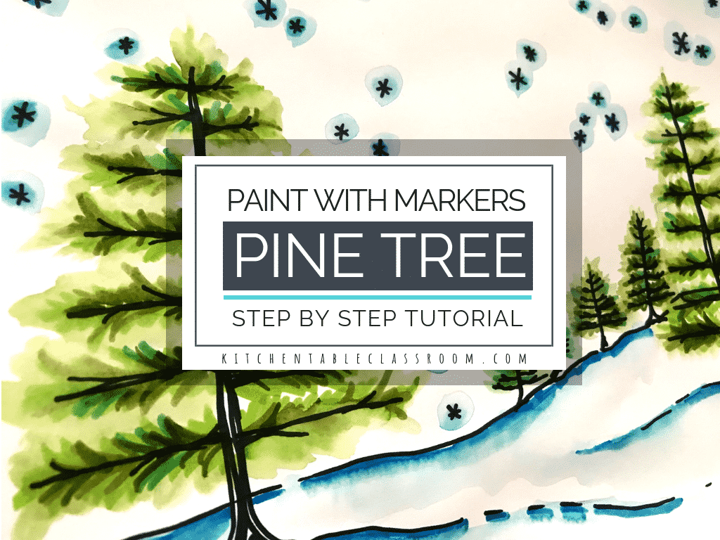 This how to draw a pine tree tutorial takes you step by step how to draw a tree and the finsh it up with my paint with washable marker technique.