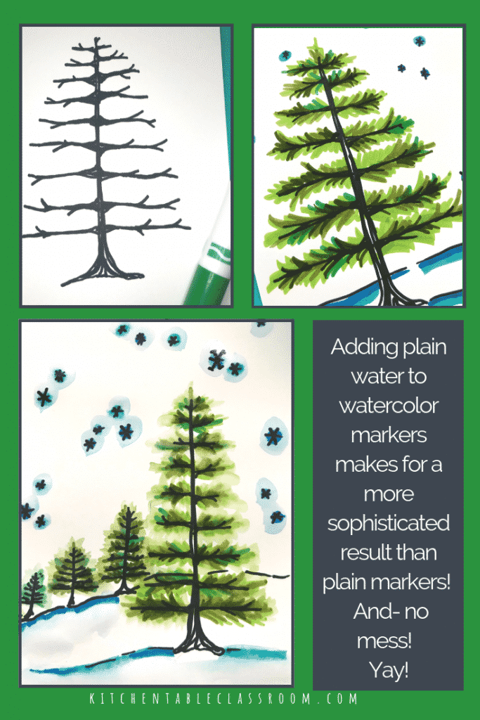 This how to draw a pine tree tutorial takes you step by step how to draw a tree and the finish iit up with my paint with washable marker technique.