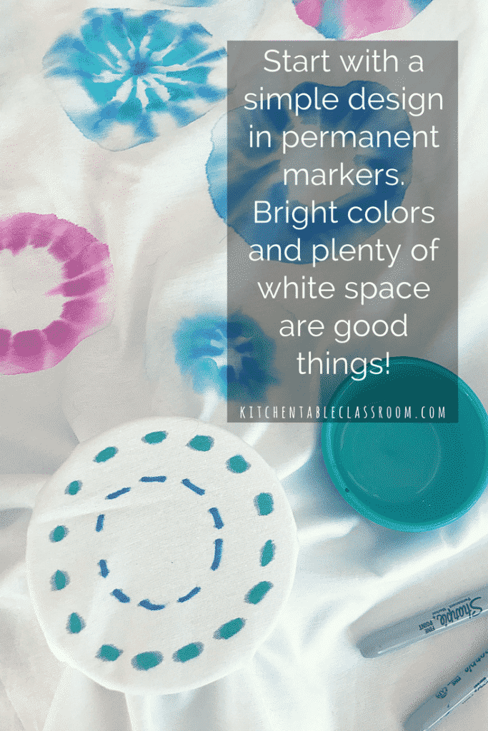 Vibrant bursts of color turn groovy radial designs using this little permanent marker trick on any cotton fabric item.  Think t-shirts, wall hangings, tea towels.  This method is a treasure trove of gifting ideas as well as an easy group activity!