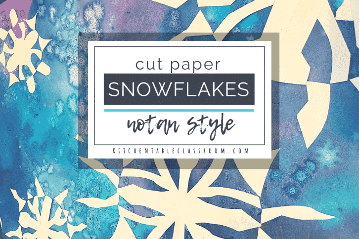 These cut paper snowflakes are inspired by Japanese notan art. Use the free printable snowflake template to get started today!