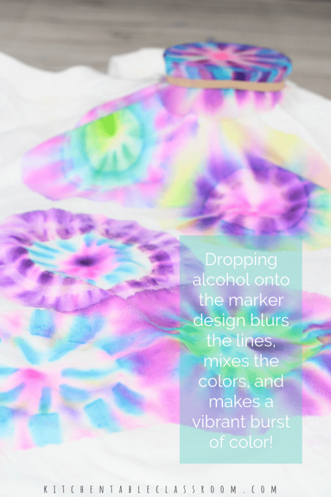 Use permanent markers & rubbing alcohol to create beautiful bursts of color on fabric. This Sharpie tie dye process is perfect for decorating t-shirts!