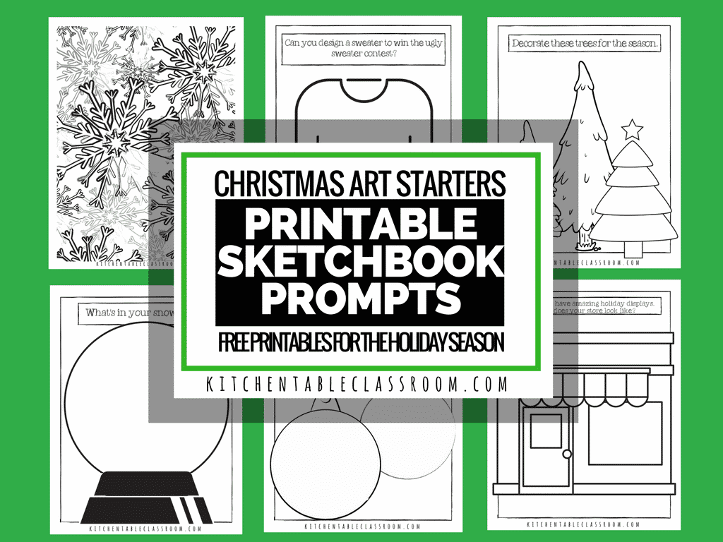 Christmas Art Starters- Free Printable Sketchbook Prompts - The ...