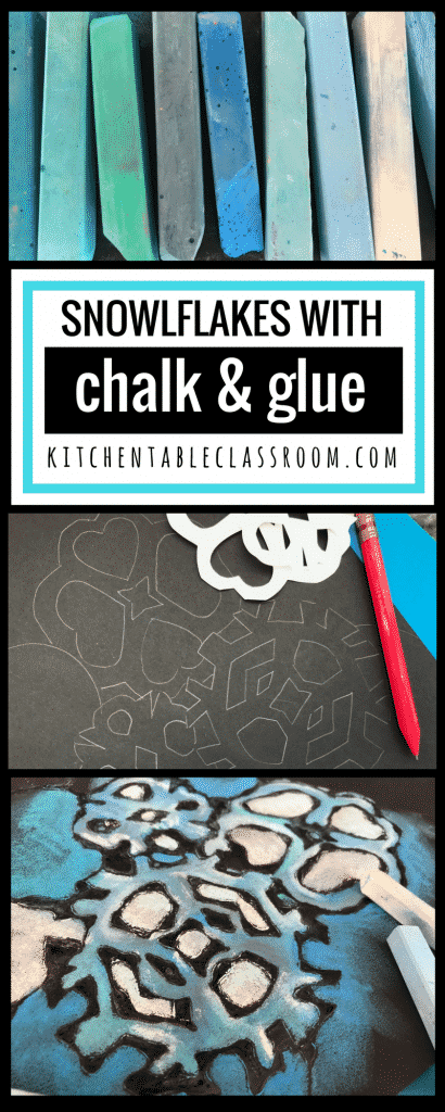 "This chalk & glue process is like magic. It's colorful, graphic, & the results are always ""wow!"" This chalk snowflake project will brighten any winter day!"