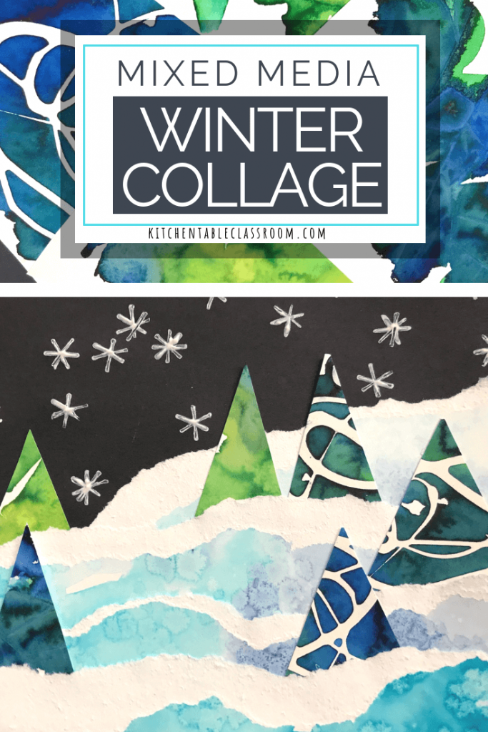 This mixed media winter collage uses watercolor techniques, tearing, cutting, gluing, and printmaking.  Layer these experiences for unlimited possibilities.