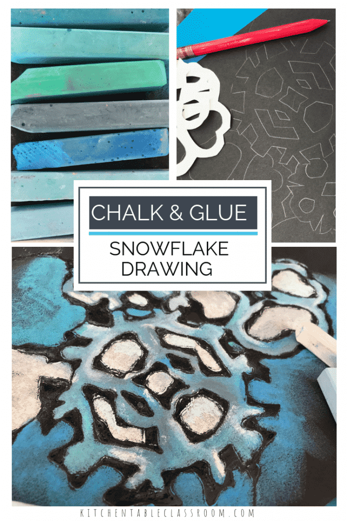 This easy snowflake drawing gets a notch up with the glue and pastel chalk resist process.  This snowflake art celebrates the best of the winter season!