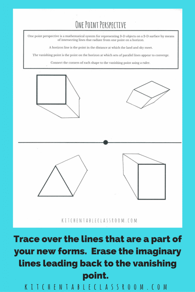 This introduction to one point perspective will take kid's drawings from flat to fat! Some vocabulary & a simple printable and they will be creating in 3-D!