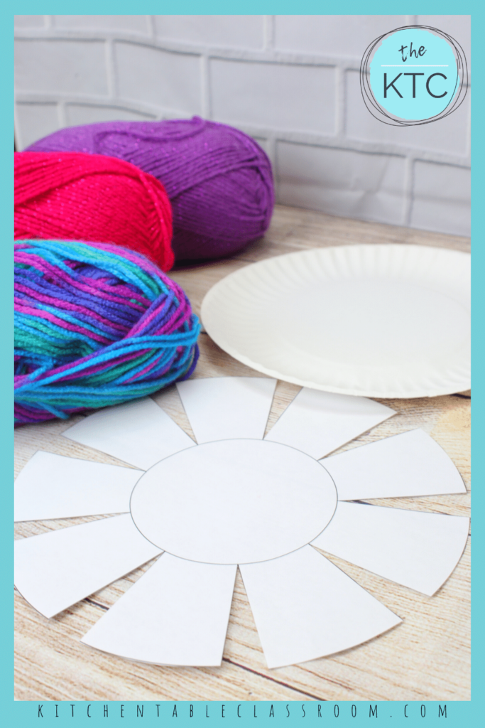 printable template to create a woven bowl with a paper plate as a base