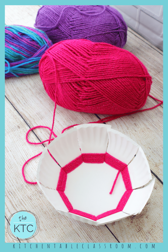 create a woven bowl from a paper plate