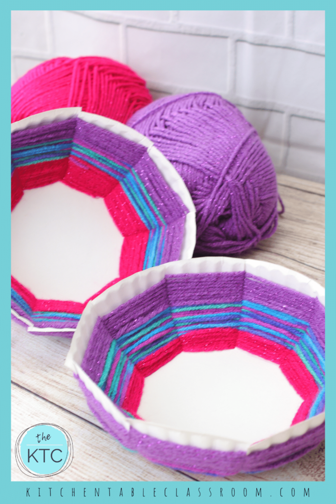 colorful woven bowl made from yarn and a paper plate