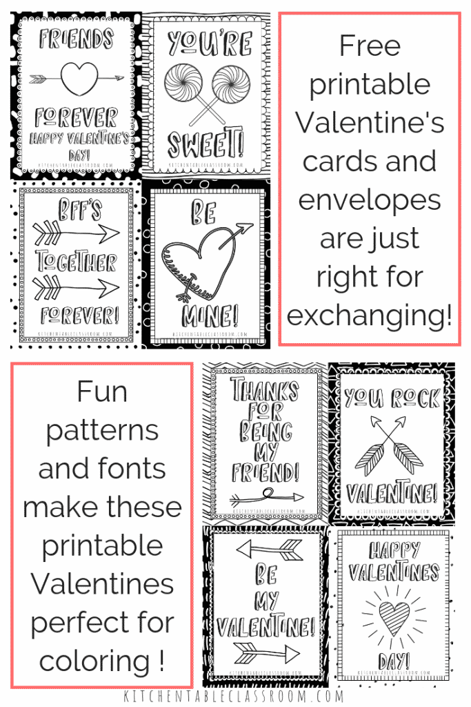 photo about Printable Valentines Black and White identify Printable Valentine Playing cards toward Colour - The Kitchen area Desk Clroom