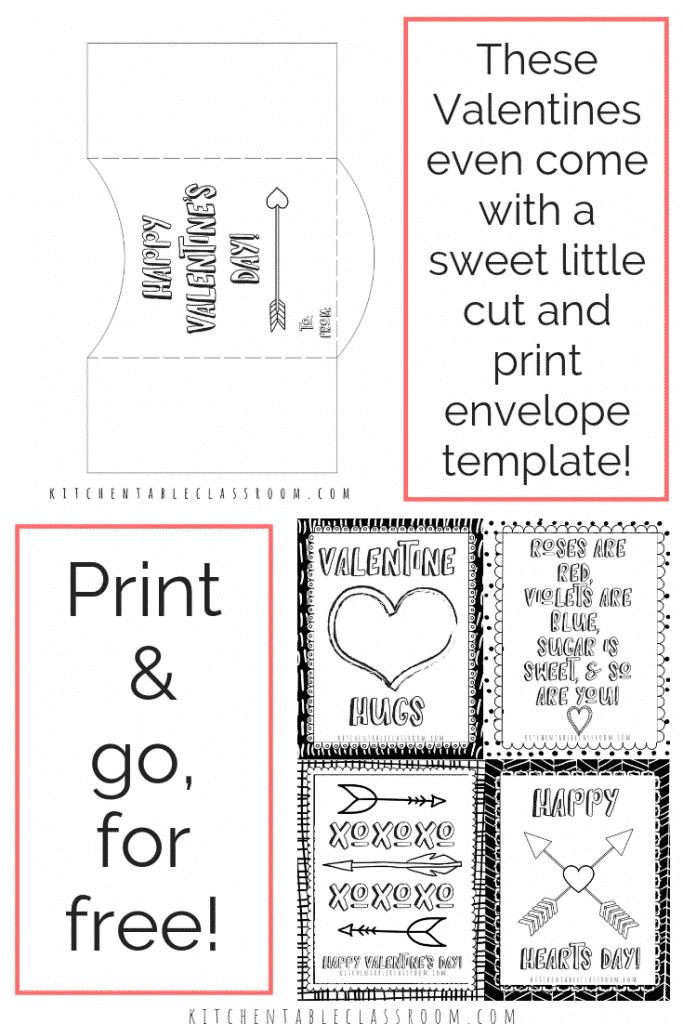 photo relating to Printable Valentines Black and White known as Printable Valentine Playing cards in the direction of Colour - The Kitchen area Desk Clroom