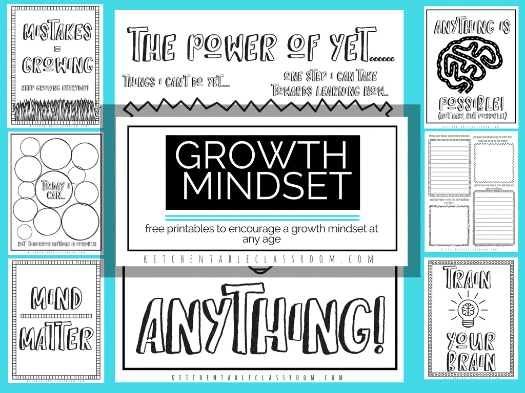 Growth Mindset Coloring Sheets and Printable Prompts - The Kitchen ...