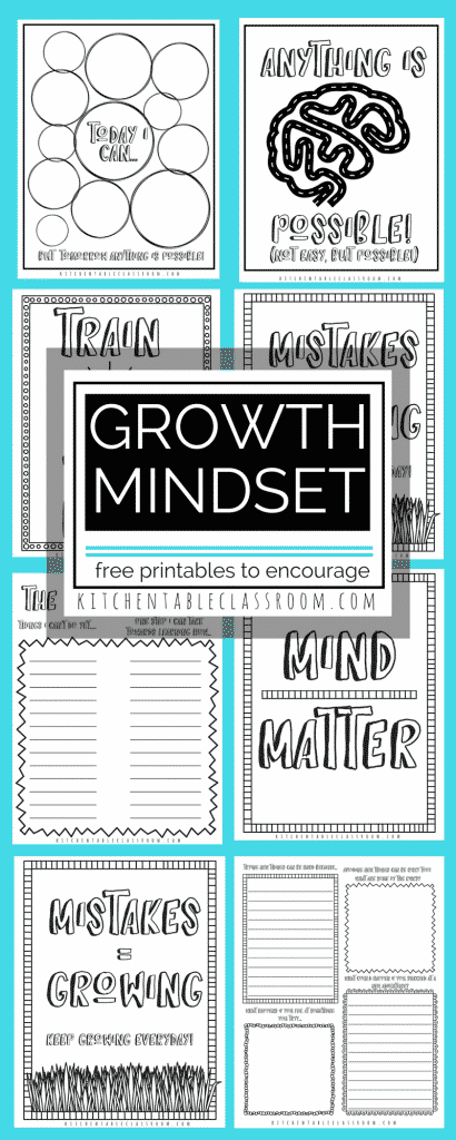 Growth mindset celebrates the process, the effort of learning new things, rather than the outcome. Do we want a positive outcome? Yes, ma'am. But sometimes trying weird, new things, requires taking a risk, maybe even failing. Use these free printable coloring sheets and prompts to encourage your kids to keep learning!