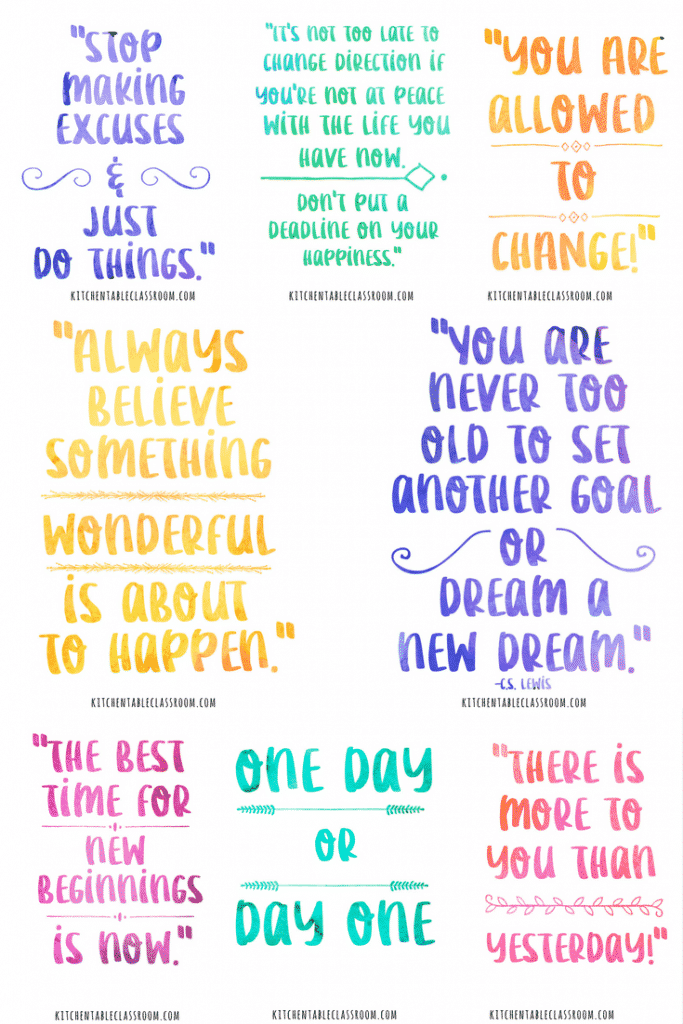 As I write this it's the middle of January. Many good intentioned resolutions have already been made and broken. But new beginnings can happen at any time of the year. Check out this collection of nine pretty (free) watercolor quotes about new beginnings to remind yourself of the possibilities of each day!
