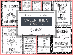 These printable Valentine cards print in black & white and add some colors with markers or crayons. An easy way to make homemade Valentine's cards for kids!