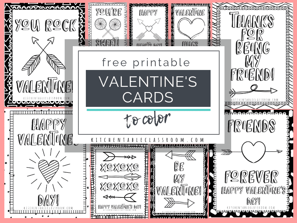 photo relating to Printable Valentines Cards for Kids referred to as Printable Valentine Playing cards in direction of Shade - The Kitchen area Desk Clroom