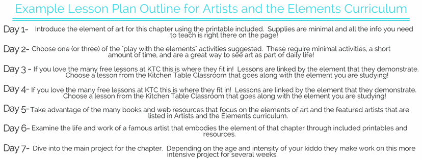 Do you love the lessons you see here at the Kitchen Table Classroom but maybe you're not quite sure how they add up to an art curriculum? How do you know you're covering what your kiddo needs to give them a well rounded exposure to the arts? Let Artists and the Elements e-book be a framework for your art curriculum!
