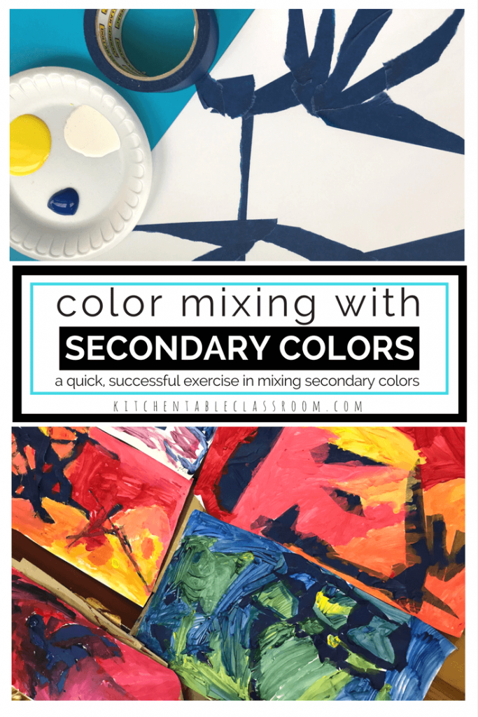 What are secondary colors?This color mixing exercise gives hands on experience mixing primary colors to create secondary colors of orange, purple, & green.