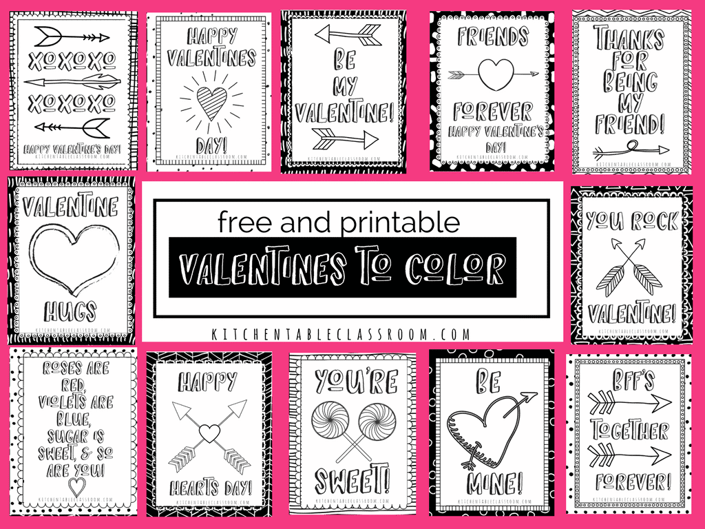Printable Valentine Cards to Color - The Kitchen Table Classroom