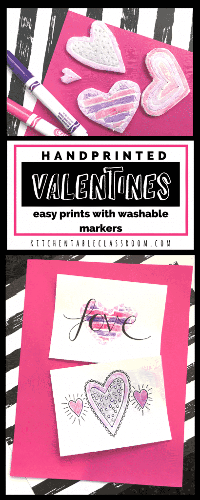 Grocery store Styrofoam and washable markers come together to make lots of sweet heart prints perfect for whipping up a batch of handmade valentines or sweet cards for any occasions.