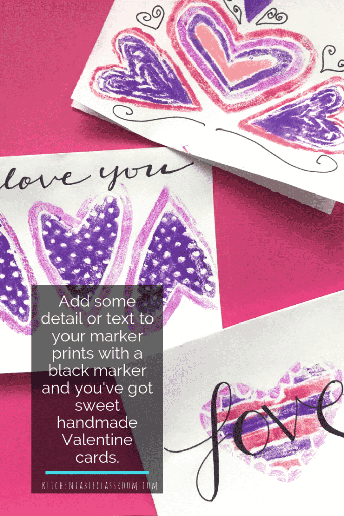 Need ideas for Valentines cards to make?  This styrofoam and washable marker printing process makes for super easy DIY Valentines cards that are a cinch!