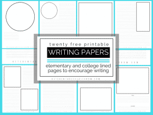 Twenty different versions of lined paper to print! Combine writing & drawing with this lined paper for kids that has a spot for drawing on every page!