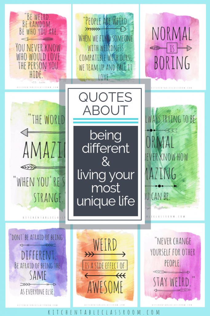 Use these watercolor being different quotes to encourage your most creative, unique life.Quotes about being unique encourage us to embrace what's different!