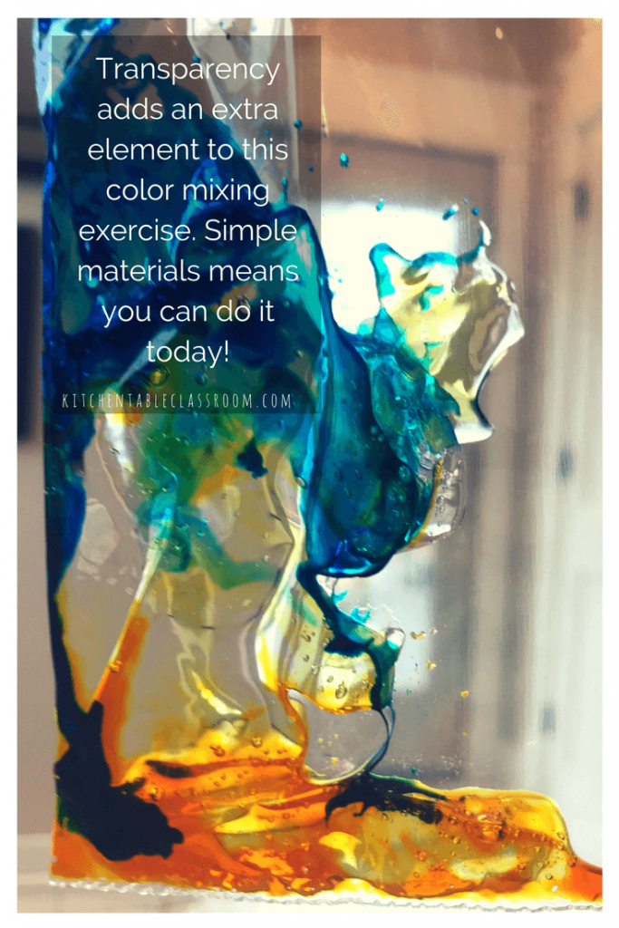 Color mixing is one of the things that can be explored at any age, any intensity, and over and over without getting stale. This quick color mixing exercise can be done with just a couple of supplies that are easy to find at the local dollar store- so you can try it today!